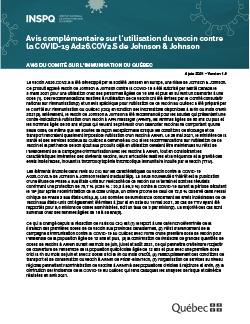 Avis complémentaire sur l'utilisation du vaccin contre la COVID-19 Ad26.COV2.S de Johnson & Johnson