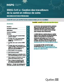 SRAS-CoV-2 : Gestion des travailleurs de la santé en milieux de soins