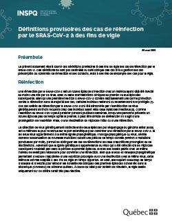 Définitions provisoires des cas de réinfection  par le SRAS-CoV-2 à des fins de vigie