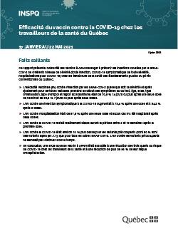 Efficacité du vaccin contre la COVID-19 chez les travailleurs de la santé du Québec
