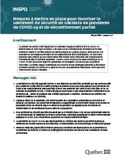 Mesures à mettre en place pour favoriser le sentiment de sécurité en contexte de pandémie de COVID-19 et de déconfinement partiel