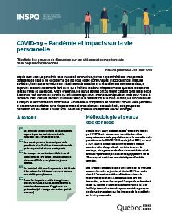 COVID-19 - Pandémie et impacts sur la vie personnelle