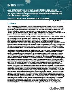 Avis préliminaire concernant la vaccination des jeunes contre la COVID-19 dans le contexte du signal de survenues de myocardites et de péricardites après l'administration des vaccins à ARN messager