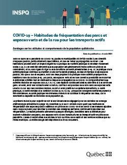 COVID-19 - Habitudes de fréquentation des parcs et espaces verts et de la rue pour les transports actifs