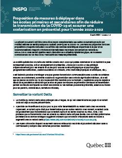 Proposition de mesures à déployer dans les écoles primaires et secondaires afin de réduire la transmission de la COVID-19 et assurer une scolarisation en présentiel pour l'année 2021-2022