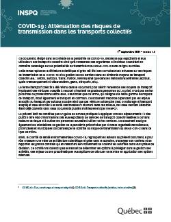 COVID-19 : Atténuation des risques de transmission dans les transports collectifs