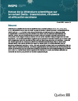 Revue de la littérature scientifique sur le variant Delta : transmission, virulence et efficacité vaccinale