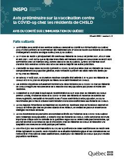 Avis préliminaire sur la vaccination contre la COVID-19 chez les résidents de CHSLD