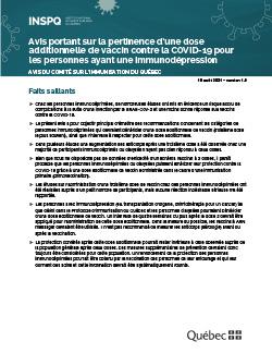 Avis portant sur la pertinence d'une dose additionnelle de vaccin contre la COVID-19 pour les personnes ayant une immunodépression
