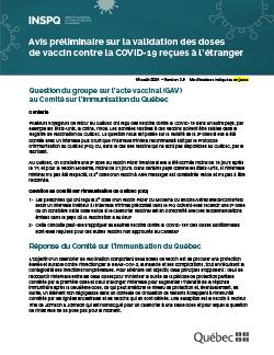 Avis préliminaire sur la validation des doses de vaccin contre la COVID 19 reçues à l'étranger