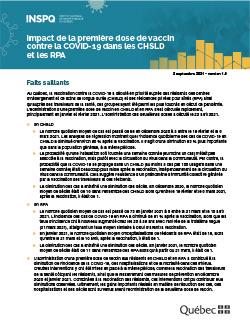 Impact de la première dose de vaccin contre la COVID-19 dans les CHSLD et les RPA