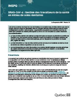 SRAS-CoV-2 : Gestion des travailleurs de la santé en milieu de soins dentaires