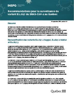 Recommandations pour la surveillance du variant B.1.617 du SRAS-CoV-2 au Québec