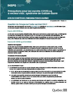 Précautions pour les vaccins COVID-19  à vecteur viral : syndrome de Guillain-Barré
