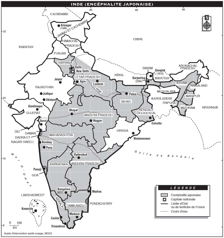Carte Paludisme Inde.Inde Guide D Intervention Sante Voyage Inspq