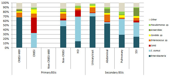 Figure 9 – Breakdown of Categories of Isolated Microorganisms, for Each Type of BSI, Québec, 2014–2015 (%)